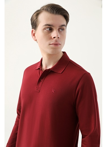 D'S Damat Regular Fit Pike Dokulu T-Shirt Bordo